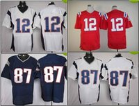Cheap #12 #87 Elite American Football Jerseys Red Football Jerseys Shirts Brand Mix Order All Teams Players Uniforms top Quality Football Kits