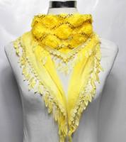 Wholesale Fashion women chiffon lace scarf wrap long triangle floral sequins tassel warm scarves collar
