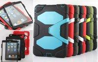 Wholesale DHL FREE Extreme Military Survival silicone Heavy Dust Shock Proof Case Cover With stand holder For for iPad mini air air2