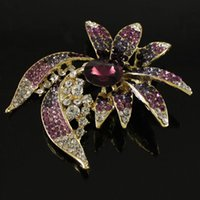 amethyst purple brooches - 1 Pc Charming Amethyst Purple Rhinestone Diamante Gold Tone Fashion Brooch Pin order lt no tracking