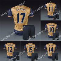 Wholesale English Premier League away golden Jersey with shorts soccer uniforms Ozil alexis ramsey walcott wilshere podolski giroud rosicky arteta