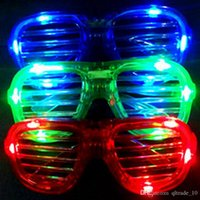 Wholesale 100PCS HHA154 LED Light Glasses Flashing Shutters Shape Glasses LED Flash Glasses Sunglasses Dances Party Supplies Festival Decoration