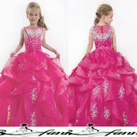 black and white flower girl dresses - New Girl s Pageant Dresses Fuchsia Organza and Tiers Ruffles Ball Gown Cute Lovely Flower Girls Dress Cheap Kids Dress