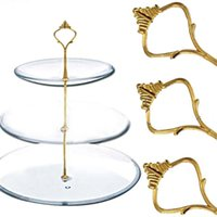 Wholesale 5 Set of Tier Three Layers Cake Plate Stand Holder Crown Metal Rod Golden MTY3