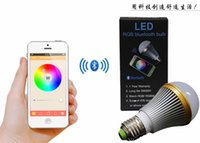 Wholesale Smart Lighting Bluetooth RGB LED Bulb Remote Control W Color Brightness Music LED By IOS iPhone Android Bluetooth Wireless LED Lamp