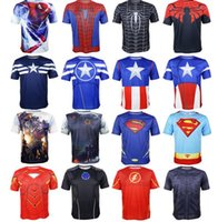 cotton polyester shirts - Superhero Avengers Cycling Jerseys Tops COS superman batman hulk Captain America print Shirts Breathable quick dry sports yoga T shirt