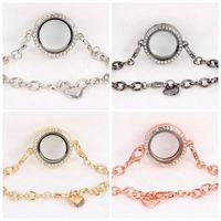 Cheap Hot ! 2pcs 4- Color Newest Magnetic Crystal Floating Living Memory Glass Locket Bracelet Charm Lockets Bracelets