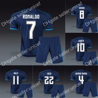 Wholesale madrid third kits blue soccer jersey with short football uniforms with dragon customized any name CHICHARITO SERGIO RAMOS BALE RONALDO