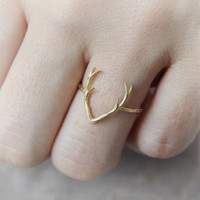 animal horns - 10PCS R005 hot sale Simple Deer Antler stag ring reindeer deer horn ring cute animal ring buckhorn ring jewelry