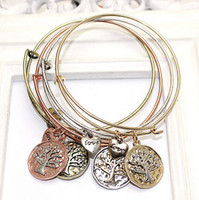 Wholesale 5PCS Fashion Charms Bracelet Alex and Ani Expandable Wire Bangles Love Coin Family Tree Metal Vintage Wristband For Women