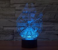 Wholesale Star Wars Millennium Falcon Night Lights Colorful LED Touch Switch Table Lamps Fashion Sleep Night Lights