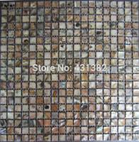 backsplash mosaic tile - HYRX shell mosaic tile sea flower shell Dye black color mother of pearl mosaic tiles tile backsplash kitchen mosaics