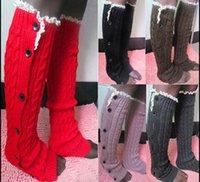 Wholesale 6 colors Women Crochet Button Down Boot Cuffs lace Button Braid Knit Leg Warmers Boot Socks Knee High Socks AAA905 pair