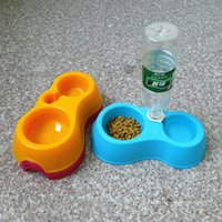 Wholesale New Pet Cat Dog Water Drinker Dispenser Food Stand Deluxe Feeder Dish Bowl Bottle Feeding