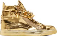Cheap Newest Men Wedge Gold Sneakers High Top Zipper Lace Up Sneakers Casual Shoes with Big Chains Wholesale Cheap Price