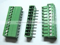 Wholesale 100 Screw Terminal Block Connector mm Angle Pin Green Pluggable Type