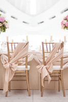 white wedding chairs - 2015 DIY Wedding Decorations Pieces One Custom Made Chiffon Wedding Chair Sashes Approx Meter Champagne Wedding Chair Covers