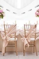 asia silk - Champagne Chair Sashes DIY Wedding Chair Decorations cm Elastic Satin Like Silk Custom Made Chair Bows Wedding Chair Covers