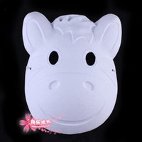 Wholesale Plain White Paper Pulp Animal Hippo Masquerade Masks For Full Face Environmental DIY Hand painted Fine Art Programs