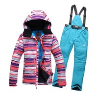 ski suit women - new style colors strips women ski suit set jackets and pants underwear outdoor windproof thermal for women