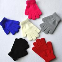 Enfants Enfants Gants Hiver Gants tricotés Couleurs solides Pleine étirer des doigts Bébés Garçons Filles Gants Mitaines chaudes 2-10 ans de qualité supérieure