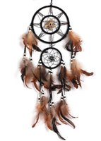 Wholesale Brown Dream Catcher With Feathers Wall Hanging Decoration Decor Bead Ornamen