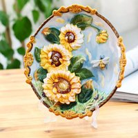 Wholesale Clearance yuan export European style garden ornaments painted relief decoration hanging plate sunflower tulip morning glory