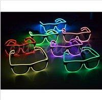 Wholesale 200pcs CCA3008 Simple EI Glasses El Wire Fashion Neon LED Light Up Shutter Shaped Glow Sun Glasses Rave Costume Party DJ Bright SunGlasses