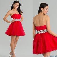 Vestidos Homecoming barato Curto Red Querida Tulle 2015 Vestidos de festa de formatura A linha frisada Cristais Sexy Prom vestido para meninas