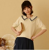 japanese fashion clothing - Korean Fashion Clothing T shirt Half Sleeve Brief Sailor Collar Sweet Casual Fashion Short Cotton Japanese Mori Girl Summer