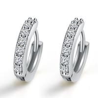 Wholesale Earrings Hoop for Women Zircon Stone Diamond Earring Bridal Wedding Engagement Round Drop Earrings Hanging Sterling Silver Hoop Earrings