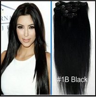 Wholesale 18 quot quot quot quot remy natural Human Hair CLIP IN HAIR EXTENSION B Natural Black Straight Extensions quot g