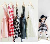 Summer american girl braces - Baby Dress suspender plaid girls dot Kids children sleeveless braces summer A5 SMOPOCKET