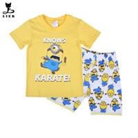 baby pyjama pants - New Minions Boys Girls Pajamas Set T shirt Short Pants Baby Pyjama Enfant Kids Pijamas Cute Character Summer Clothes Suit CF211