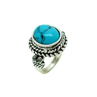 Wholesale 2014 Brand New Women s Rings vintage Rings With Four Color Turquoise Gemstone The Bling Biker Couple Ring Finger As001
