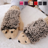 Wholesale High Quality Winter Warm Knitted Mittens Cartoon Hedgehog Gloves Cute Ladies Gloves Cute Mittens Women Gifts YS0057 salebags