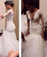 Cheap 2016 Sexy South Africa Long Sleeves Lace Mermaid Wedding Dresses Plus Size Crew Sheer Neck Deep Gap Arabic Bridal Gowns Real Sample