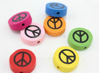 bamboo symbols - 300pcs Peace Sign Symbol wood colorful mm Wooden beads Crafts round D block mixed color for DIY big beads