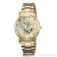 Wholesale 2015 Hot Selling Gold Wristwatches Mens Skeleton Mechanical Watch Fashion Luxury Stainless Watches Men s Quartz Wristwatch Free Shippin