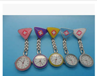 Wholesale DHL newest Clip Nurse Doctor Triangle Pendant Pocket Quartz Red Cross Brooch Nurses Watches fob Hanging Medical Pocket Watches L000368