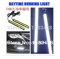 Cheap Wholesale-2 X 12V 6W 17cm COB LED DRL Driving Daytime Running Lights Super Bright White lamp Aluminum Chip Bar Panel free shipping