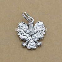 alloy jumps - Top Sale Zinc Alloy Tibetan Silver Plated Poland National Emblem Eagle With Jump Ring Charm Jewelry