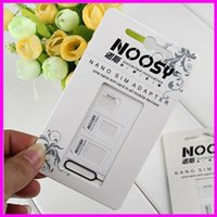 Wholesale NOOSY Nano Sim Micro Sim Standard Sim Card Convertion Converter Nano Sim Adapter Micro sim Card For Iphone All Mobile Devices dhl free