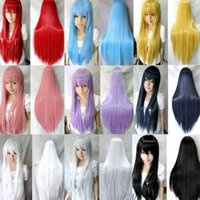 Wholesale New Harajuku Anime Cosplay Wigs Colored Long Straight Synthetic Hair Wig Wigs For Japanese Anime DHL jf8802 c1