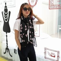 Wholesale 2014 Korean Ladies Fashion Scarf and all match bow cashmere printed chiffon scarf