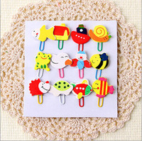 Wholesale 12pcs Korean stationery cartoon wood Paperclip notes decorative Mini cartoon wooden clips
