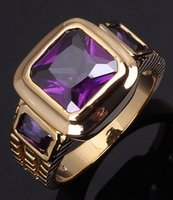Wholesale sale Fashion size Jewelry Rings Men s Amethyst Stamp KT Yellow Gold Filled Male Rings Anniversary Gift R048YPA