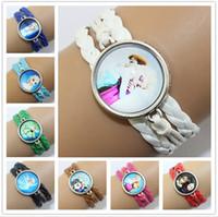 children charm bracelet - FROZEN Children leather bracelet Hand woven multi bracelet Cartoon Gemstone Bracelets charm jewelry mix color M