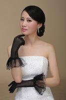 Wholesale 2014 Charming Black Wedding Gloves Bow Ruffle Edge Finger Bridal Gloves Sheer Prom Party Gloves