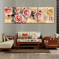 animation pictures animals - 3 Pieces Modern Painting Art Picture Paint on Canvas Prints Abstract cartoon animation tree peony flower chinese characters proverb